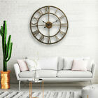 3D Vintage Roman Retro Metal Wall Clock Hollow Iron Mute Watch Large Dial Decor