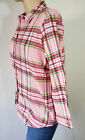 Womens Flannel Shirt Top Woman Within Pink Plaid 100% Cotton Button Up