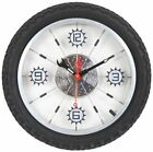 Aluminum Bicycle Wheel with Rubber Tire Wall Clock - Black