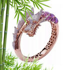 Dragon Rings Rose Gold Plated Gothic Zircon Rhinestone Engagement Ring Size 5-11