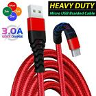 Long Braided USB Micro Fast Charging Charger Data Cable Lead 2M 3M For S5 S6