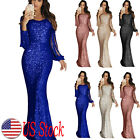 Elegant Ladies Sequin Dress Tassel Bodycon Formal Evening Party Maxi Ball Gown