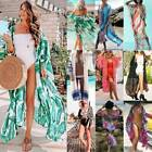 Women Boho Floral Bikini Cover Up Kimono Kaftan Summer Beach Long Cardigan Dress