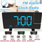 FM Digital Alarm Clock Radio Projection LED Dual Alarms SNOOZE USB Charging Port