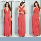 NEW LADIES AVON CORAL MULTIWAY CREASE RESISTANT HOLIDAY MAXI DRESS 10 12 22 24