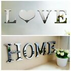 4 Letters Love Home Furniture Mirror Tiles Wall Sticker Self-adhesive Art Decals