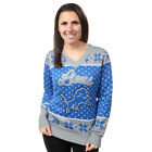 Detroit Lions Big Logo Women's V-Neck Ugly Sweater by Forever Collectibles $69.99 USD on eBay