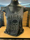 R003286_ Ladies Harley-Davidson G Shield Skull Charcoal Dealer Label Tank $31.99 USD on eBay