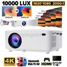 10000LM LED Smart Home Theater Projector Android 6.0 4K BT 1080p FHD 3D US USA