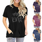 Women Be Kind Heart Pocket Trendy Casual Aesthetic Blouse Soft Top Tee T-Shirt