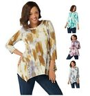 LOGO Lori Goldstein Printed Cotton Modal Top with Button Detail XS-3X A40658RM