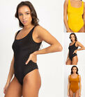 Square Neck Sleeveless Thong Bodysuit Tank Top Stretch Slim Fitted Solids Plain