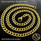 Mens Ladies Statement Necklace Chain Bracelet 14k Yellow G/f Gold Solid Curb