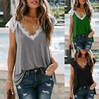 Women Summer Lace Short Sleeve T Shirt Casual Loose Plain Tops Blouse Tunic Tops