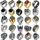 Vintage Style Men Stainless Steel Gothic Punk Masonic Motorcycle Biker Ring Band