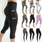 Kyпить Women High Waist Yoga Pants Capri Sports Fitness Running 3/4 Leggings Gym Pocket на еВаy.соm