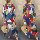 US Womens Oversized Long Maxi Shirt Dress Printes Holiday Vintage Casual Dresses
