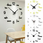 3D DIY Wall Clock Modern Design Mirror Surface Sticker Clocks Home Decor Art US