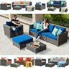 6pc Patio Furniture Large Size Rattan Wicker Sofa Outdoor Garden Couch Set