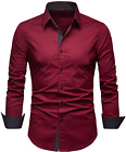 Sir7 Men'S Cotton Button Down Casual Long Sleeve Shirts Inner Contrast Plaid Dre