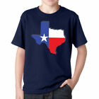 Texas Flag State Map Boys T-Shirt Youth Kids, Blue