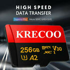 256GB KRECOO Micro Memory Card Class10 108MB/S Fast Flash 4K Card with Adapter