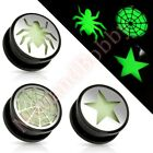 Hollow Screw Fit Ear Plug Stretcher Glow In The Dark CHOOSE SINGLE OR PAIR