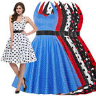 GK Womens Mini Retro Dress Polka Dot Backless Lace Up Halterneck Swing Dresses