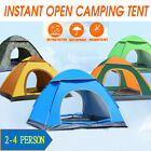 Camping Tent Pop Up Automatic Waterproof Family Outdoor Tent Beach Hiking 3-4Man