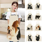 Waterproof Bulldog Printing Cotton Linen Apron Kitchen Restaurant Cooking Aprons