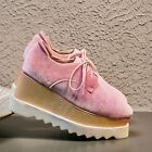 Womens Fashion Velvet Lace Up Wedge High Heels Oxford Platform Shoes Creeper