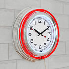 """14"""" Retro Neon Wall Clock, Double Light Ring Vintage Style Clock by Lavish Home"""
