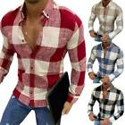 Mens Long Sleeve Button Down Plaid Casual Shirt Slim Fit Formal Dress Shirts Top