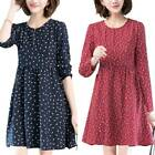 Women Printed Long Sleeve Midi Dress Casual Laides Crew Neck Swing A Line Dress