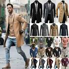 Mens Winter Trench Coat Jacket Long Overcoat Buttons Up Warm Peacoat Top Outwear