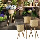 Handmade Bamboo Flower Pot Holder Stand Rattan Straw Wickerwork Home Decoration