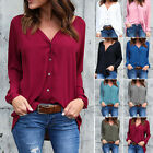 Women Long Sleeve T Shirt Chiffon Button Down Shirt V Neck Plus Size Tops Blouse