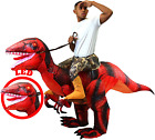 Spooktacular Creations Inflatable Costume Dinosaur Riding a Raptor Air Blow-up D