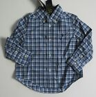 NEW Ralph Lauren Boys L/S Blue Cotton Poplin Plaid Shirt Sz 2/2t 3/3t NEW 40