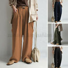Women Casual Holiday Office OL Pants Wide Legs Solid Belted Loose Long Trousers