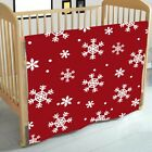 Christmas Fleece Throw Blankets Snowflake Nordic Cosy Warm Sofa Bed Red Throws