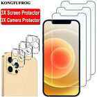 For iPhone 12 11 Pro Max X XR XS 8 7 Plus 3-PACK Tempered Glass Screen Protector