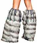 Womens Beaded Fringe Indian Dancer Wolf Leg Warmers Halloween Outfit Accessory