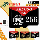 KRECOO 64GB 128GB 256GB Micro Memory SD Card Fast C10 Flash TF Card with Adapter