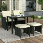 Outdoor Patio Garden Furniture Set Rattan Glass Table Stool Chair 5 Pieces Black