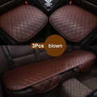 3 PACK Car Seat Protector Car Full Set Cover Front+Rear PU Leather Cushion Pad