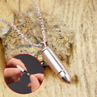 Stainless Steel Open Bullet Pendant Necklace Ashes Memorial Keepsake Jewelry Au