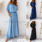 US Womens Off Shoulder Denim Dress Kaftan Casual Maxi Dress Beach Party Dresses