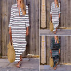Women Casual Kaftan V Neck Full Length Oversized Loose Long Maxi Shirt Dress NEW