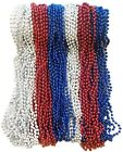 The Dreidel Company Patriotic Beads Necklace, Red, Silver, and Blue, 33 inch ...